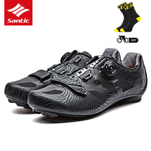 Santic 2018 New Men Cycling Shoes Lace-up Nylon Sole Road Bike Shoes Sneakers Athletic Racing Bicycle Shoes for Man Riding Black
