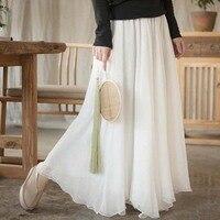 Women Pleated Long Skirts Chiffon 2 Layers Maxi Skirt China Retro Loose Hight Waist Summer Skirt Solid Color