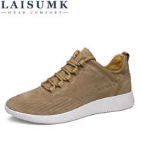 2018 LAISUMK Spring New Men Casual Sneaker Shoes Soft Light PU Sole Male Lace Up Fashion