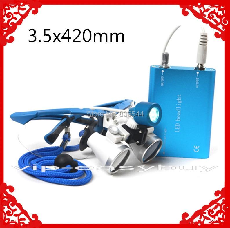 ФОТО Blue ! HOt !3.5x 420mm Dental Surgical Binocular Loupes + LED Head Light lamp