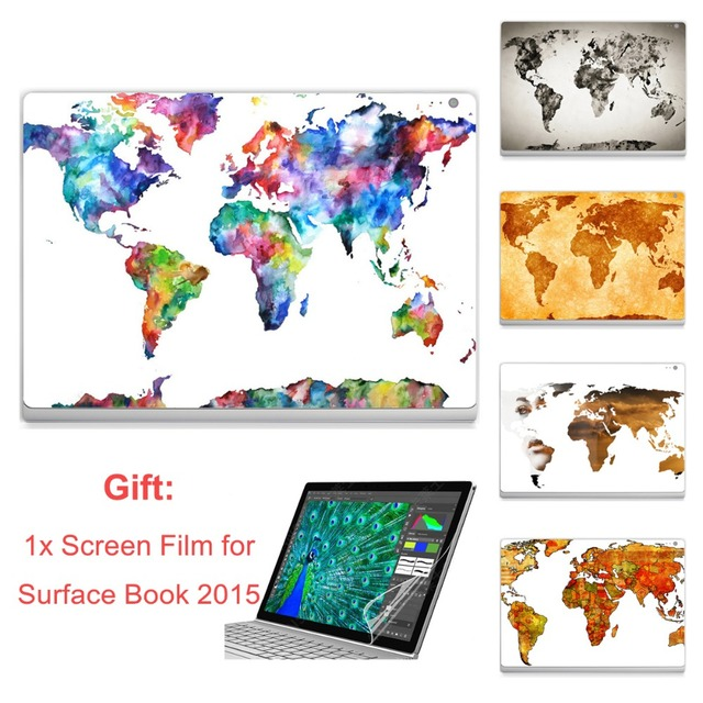 GOOYIYO - Laptop Sticker For Surface Book 2015 Top Vinyl Decal Full Stickers World Continent Map Print Skin Gift Screen HD Film