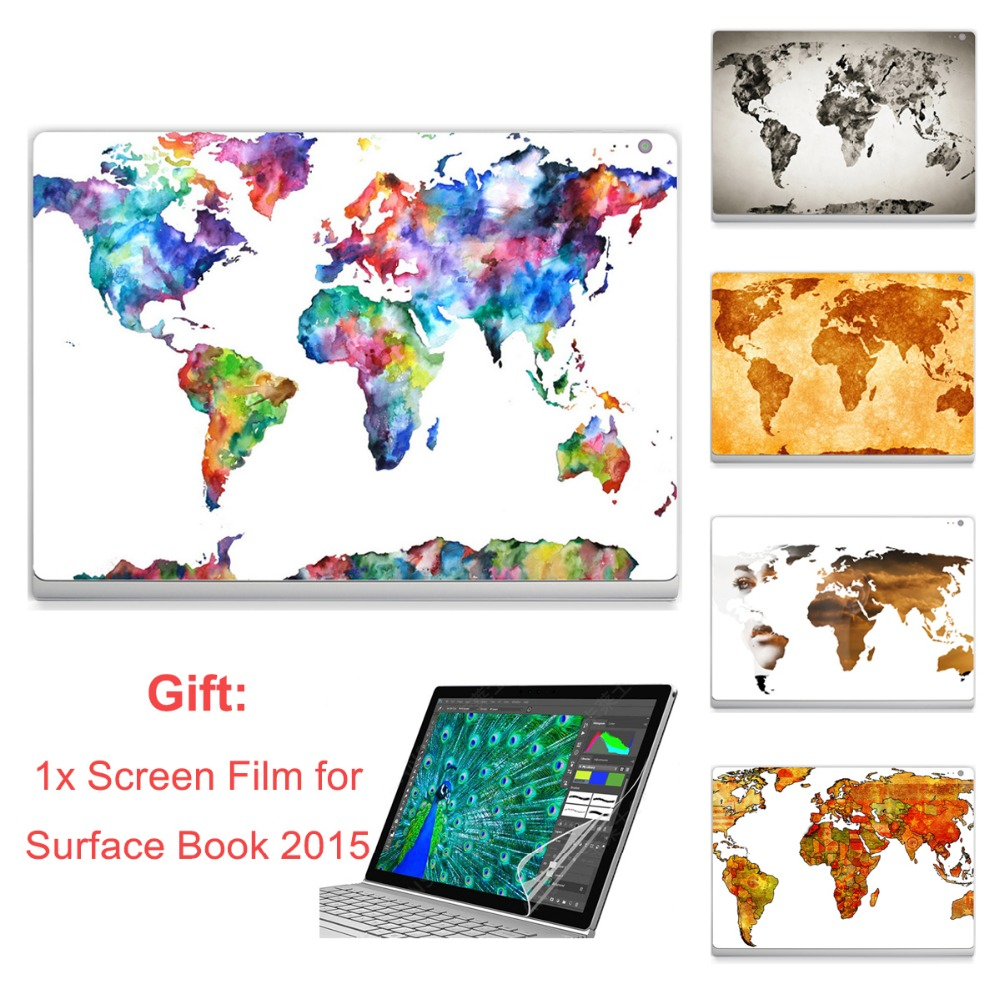 Ycsticker laptop sticker for surface book 2015 top vinyl decal full stickers world continent map print skin screen hd film