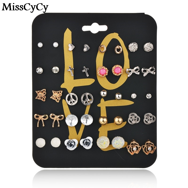 MissCyCy 20 Pairs/lot Fashion Silver Colors Small Stud Earring For Women Pack Set Cross Flower Balls Heart Girl Gift Brincos