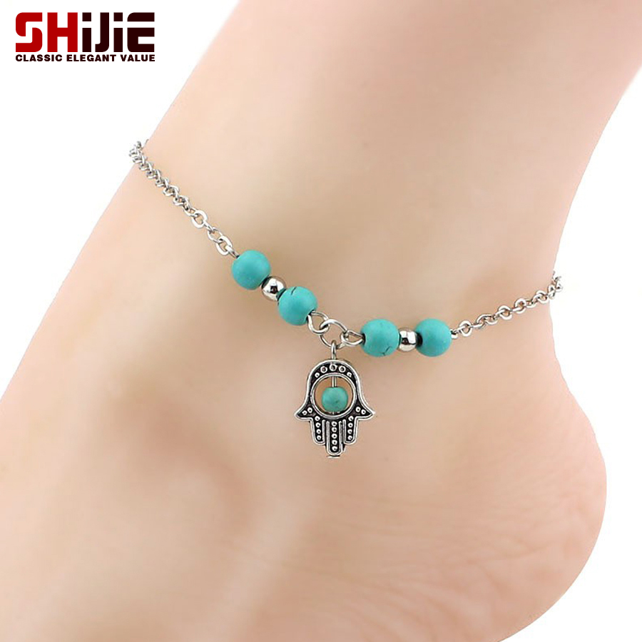 Silver Anklets For Women Foot Chain Bohemian Cross ...