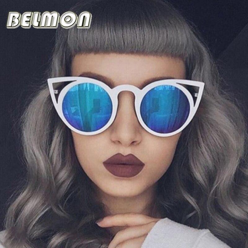 De moda de ojo de gato gafas de sol mujer marca diseñador gafas de sol para mujer Vintage, gafas de ojo de gato espejo-colorido-lente mujer RS167