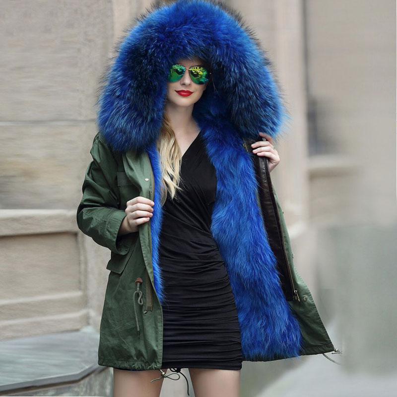 Winter Down Parka 2017 Luxry Real Fox Fur Liner With Large Natural Raccoon Fur Collar Thickening Down Jacket Army Green Outwear new 2017 jott jacket winter women parka long coat large real raccoon fur collar faux rabbit fur liner army green casual outwear