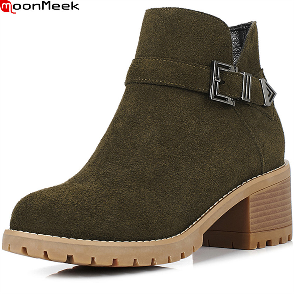 MoonMeek 2018 fashion new arrive women botos round toe zipper ladies cow suede boots square heel leather ankle boots big size new arrival superstar genuine leather chelsea boots women round toe solid thick heel runway model nude zipper mid calf boots l63