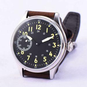 Image 5 - 44mm Corgeut Sterile Schwarz Zifferblatt 17 Juwelen 6497 Handaufzug Bewegung männer Armbanduhren