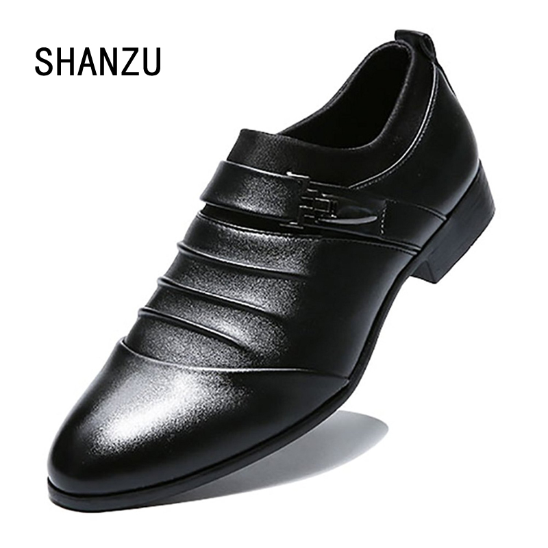 Luxury brand PU Leather Fashion Men Business Dress Loafers Pointy Black Shoes Oxford Breathable Formal Wedding Shoes 698 choudory summer dress crocodile skin shoes men breathable prom shoes full grain leather pointy mens formal shoes shoe lasts