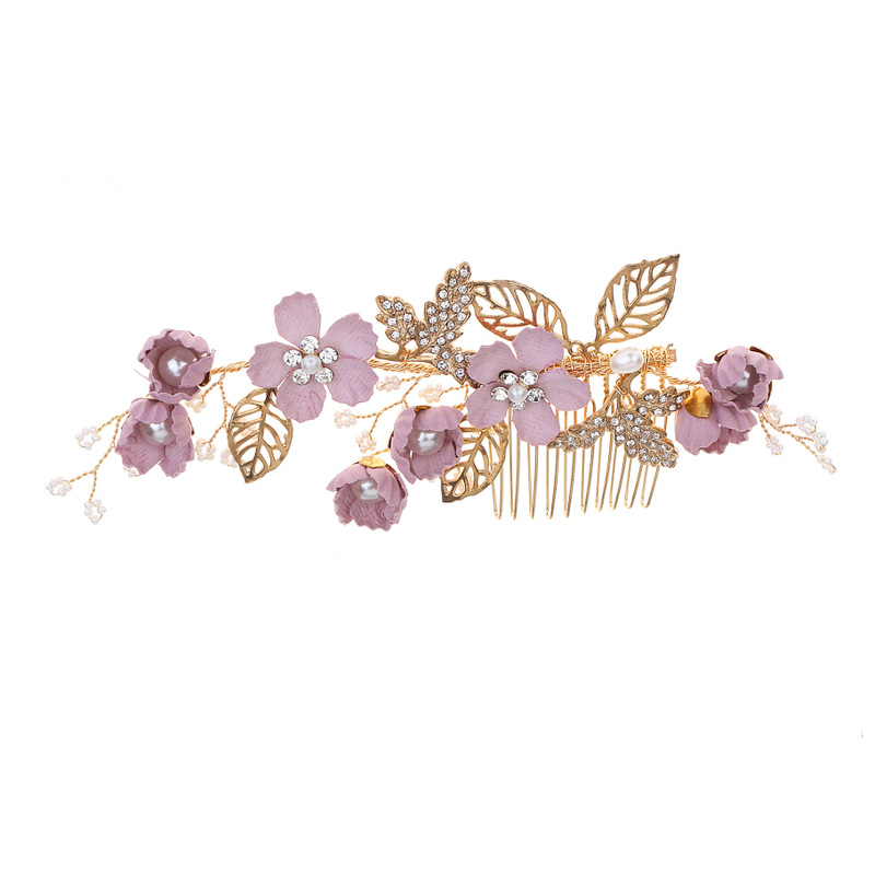 hairpin headdress violet flowers golden leaf hair comb bridesmaid wedding hair accessories tiarasH056 in Hair Jewelry from Jewelry Accessories