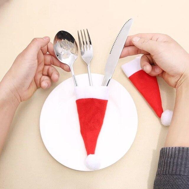 10 pz Cena Coltello Da Tavola Forchetta Cappello Di Natale Decorazione Per La Ca