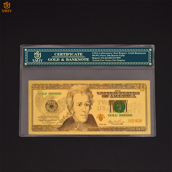 Best Price US Gold Banknote 20 dollar Money In 24k Gold Pated Paper banknote For Collections image