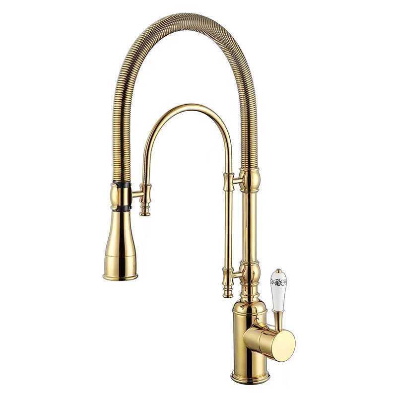 Kitchen Faucet Sink Mixer Tap Hot and Cold Total Brass Kitchen Crane Pull Out Spring Spout