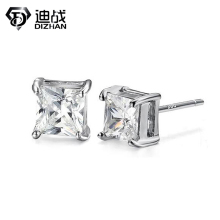 High Quality Square Clear Zircon Stud Earrings For Men Women Silver Plated Earrings Fashion Wedding Jewelry Accessories