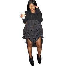 Длинный рукав черный с капюшоном свитер платье женское повседневное Свободный Асимметричный пуловер с драпировкой шнурок мини-кофты с капюшоном платье Vestidos