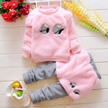Kids clothing sets Baby Girls Cartoon eyes Pink long sleeve Plus velvet Pullover + pants shorts 2 Pcs sets Christmas costumes