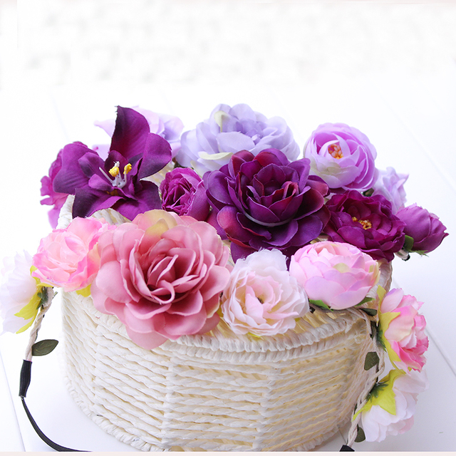 Fabric Lotus Flower Headbands for Woman Girls Bridal Wedding Flower Crown  Headband Forehead Hair Band Festival 97cdeb6038a