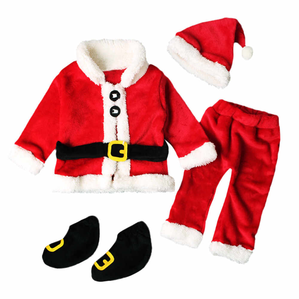 Children Baby Clothing Set 4PCS Infant Santa Christmas Tops+Pants+Hat+Socks Outfit Costume Kids Clothes Set For Girls Boys @35
