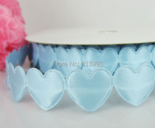 Free Shipping 20Yards Blue Connect Padded Felt Heart Applique/Craft Wedding 16mmx16mm
