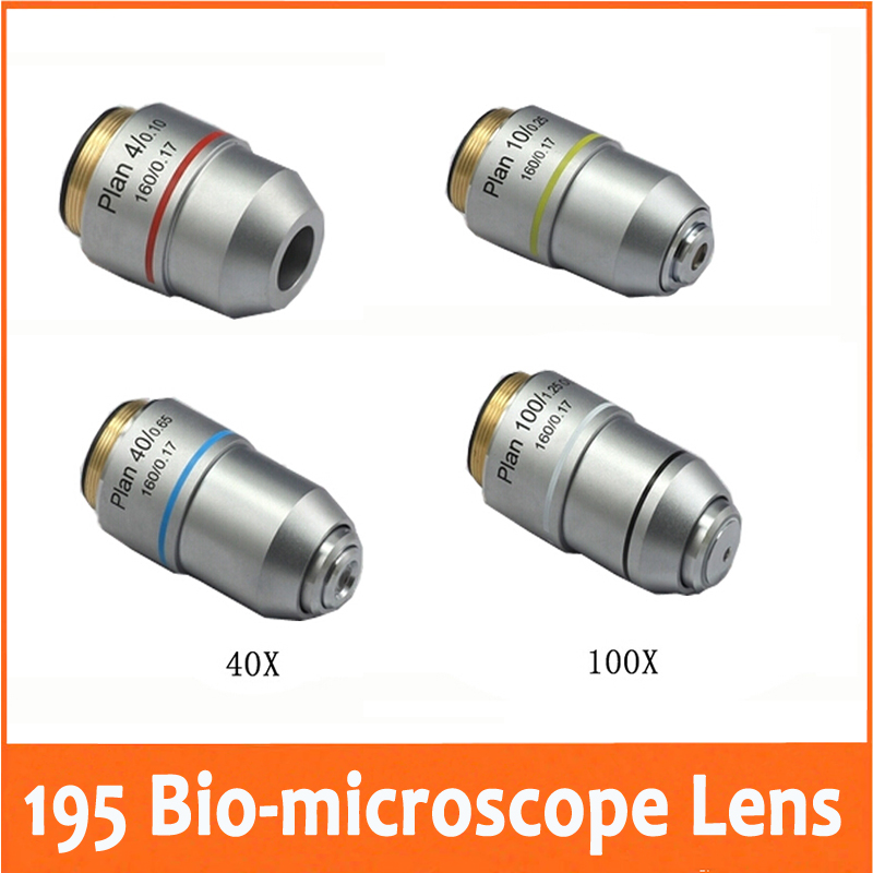4X 10X 40X 100X L=195 Plan Achromatic Objective Lens for ...