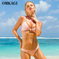 OMKAGI Micro Sexy Bikini 2017 Swimsuit Swimwear Women Push Up Bikinis Set Swim Suit Swim Wear