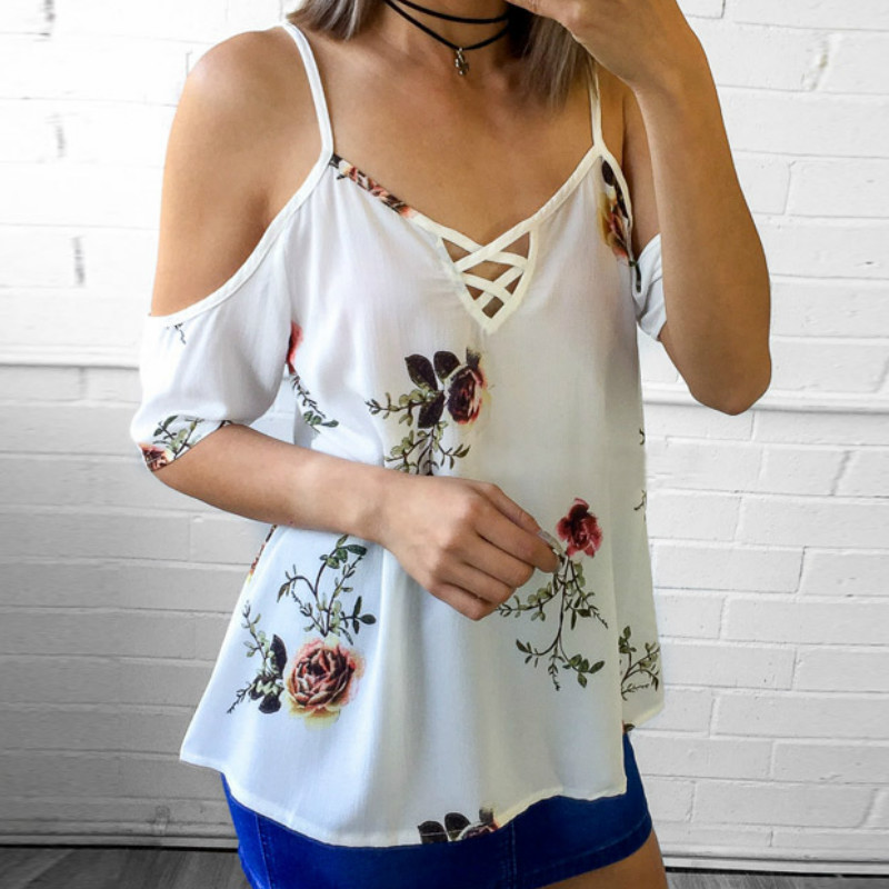 Floral Printed Women Spaghetti Strap Cold Shoulder Tops Chiffon Shirts Spring Summer Female Sexy Blouses Shirts Plus Size Blusas