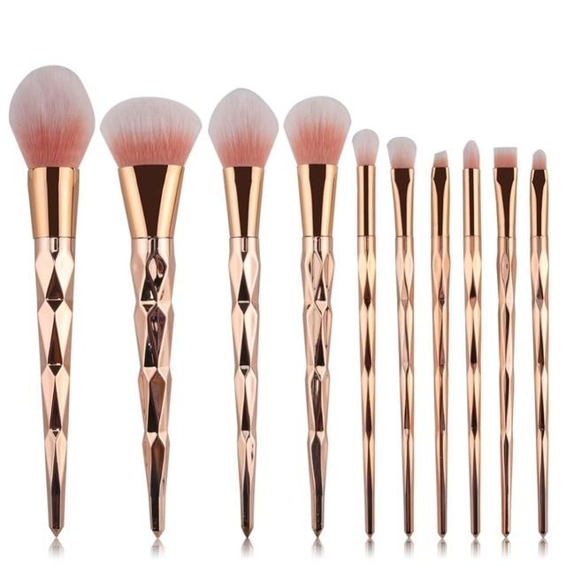 10pcs Pro Diamond Shape Makeup Brush Set Powder Blusher Eyeshadow Eyeliner Eyebrow Lip Brush Rainbow Golden Cosmetic tool Kits