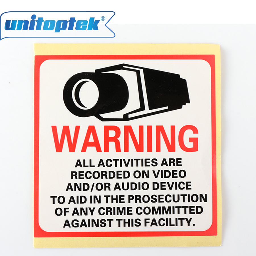 20PCS/Lot waterproof Sunscreen PVC Home CCTV Surveillance Security Camera Video Sticker Warning Decal Signs 80*80mm signs