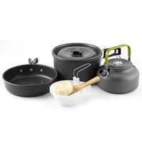 Groothandel 2-3 persoon Camping Cookware Kit Mini Pan + waterkoker + Pot Outdoor Pannenset voor Wandelen reizen Gratis Verzending