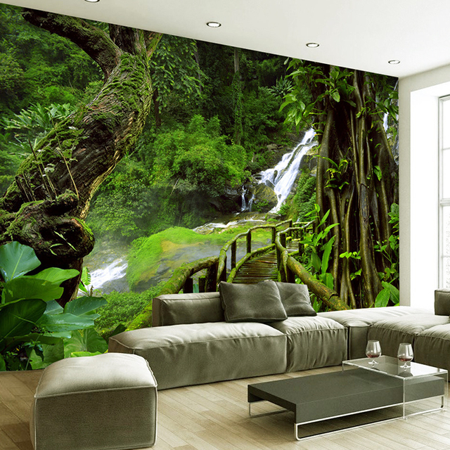 Custom wallpaper murals 3d hd nature green forest trees for Nature wallpaper for bedroom
