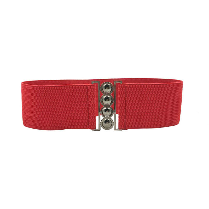 Women Elastic Cinch Belt 3Inch Wide Stretch Waist Band Clasp Buckle -MX8
