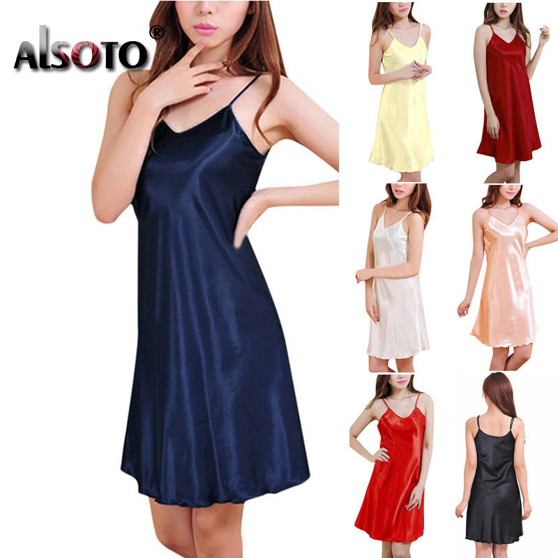 Ladies Sexy Silk Satin Night Dress Sleeveless Nighties V-neck Nightwear For Women Nightgown Plus Size Nightdress Sleepwear 1