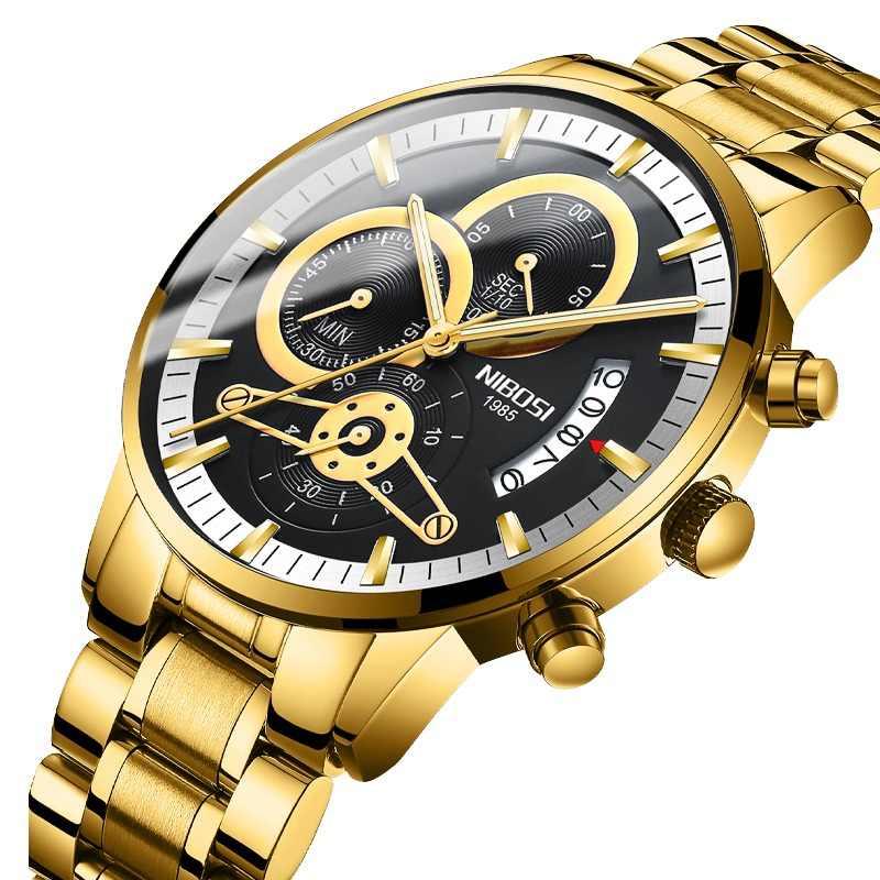 02f6f436bbcb NIBOSI Relogio Reloj de los hombres negro y oro relojes para Hombre marca  de lujo relojes