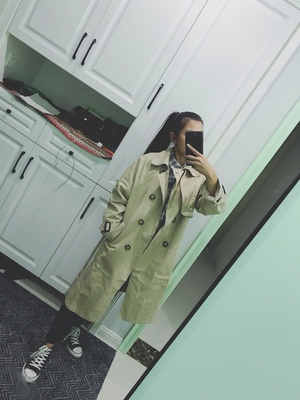 Spring And Autumn Women Fashion Brand Korea Style Waist Belt Loose Khaki Color Trench Female Casual Elegant Soft Long Coat Cloth 80