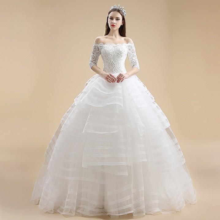 cap sleeve lace ball boat neck three quarter sleeves vestido de noiva bride tiered beading louisvuigon mother of bride dresses