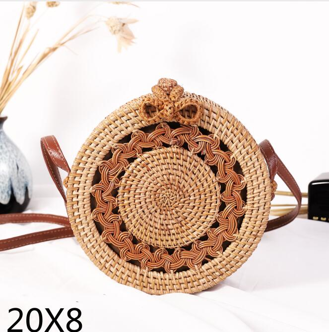 Woven Rattan Bag Round Straw Shoulder Bag Small Beach HandBags Women Summer Hollow Handmade Messenger Crossbody Bags