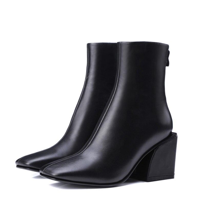 En Arrivée Top Mode 2018 Cheville argent Automne Cuir De Nouvelle Talons Smeeroon Qualité Femmes Véritable Style Noir Haute Bottes SxZwOEwIq