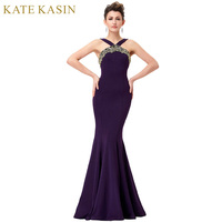 Kate Kasin Purple Evening Dresses Long Elegant Women Bandage Backless Formal Dress Mermaid Evening Gowns Prom Party Dresses 2017