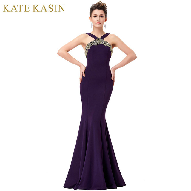 Kate Kasin Purple Evening Dresses Long Elegant Women Bandage ...