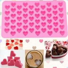 Cocina Para hornear herramientas 55 agujeros corazón lindo estilo de silicona molde de chocolate, hielo caramelo Muffin molde regalo de San Valentín de D0136