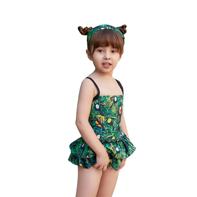 Retro Print Girls One Piece Swimwear Smocking Ruffle Skirt Swimsuit Kids Bikinis 2019 New Children Beachwear Bady Bathing Suit(China)