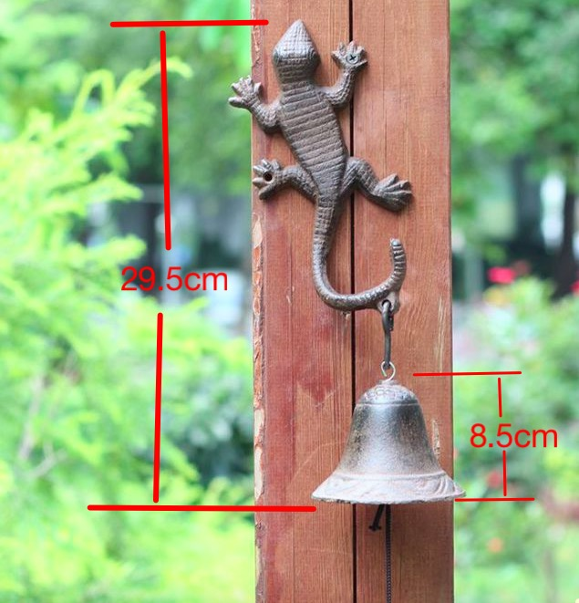 L:29.5cm Garden Ornament cast iron bell lizard Hook