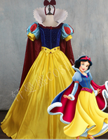 Real Luxury Adult Children Girls Anime Snow White Princess Queen Cosplay Gown Ball With Cloak Long
