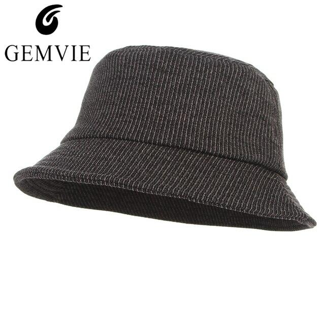 308efb68bb6 2018 Fashion Unisex Thin Stripes Bucket Hat Foldable Cotton Blend Flat Top Bucket  Hat Men Women Wide Brim Sun-shade Fisher Hat