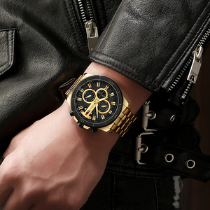 Image 4 - Curren Men Watch 2019 Top Brand Luxury Business Gold Mens Wrist Watch Chronograph Golden Man Watch 2018 Relogio Masculino