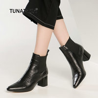 Plus Size 43 Cow Leather Thick High Heel Ankle Boots Fashion Chelsea Boots Winter Casual Shoes