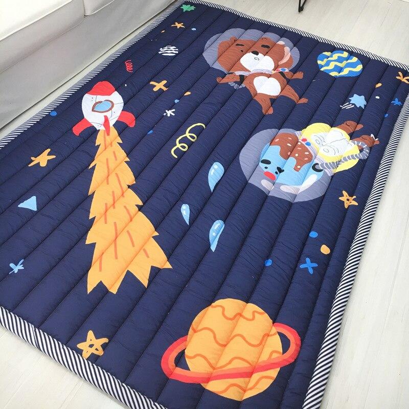 Enfants bébé jouer tapis 200*150 CM 100% coton carré jouets tapis tapis bébé jeu tapis ramper tampons bande dessinée chambre pique-nique tapis