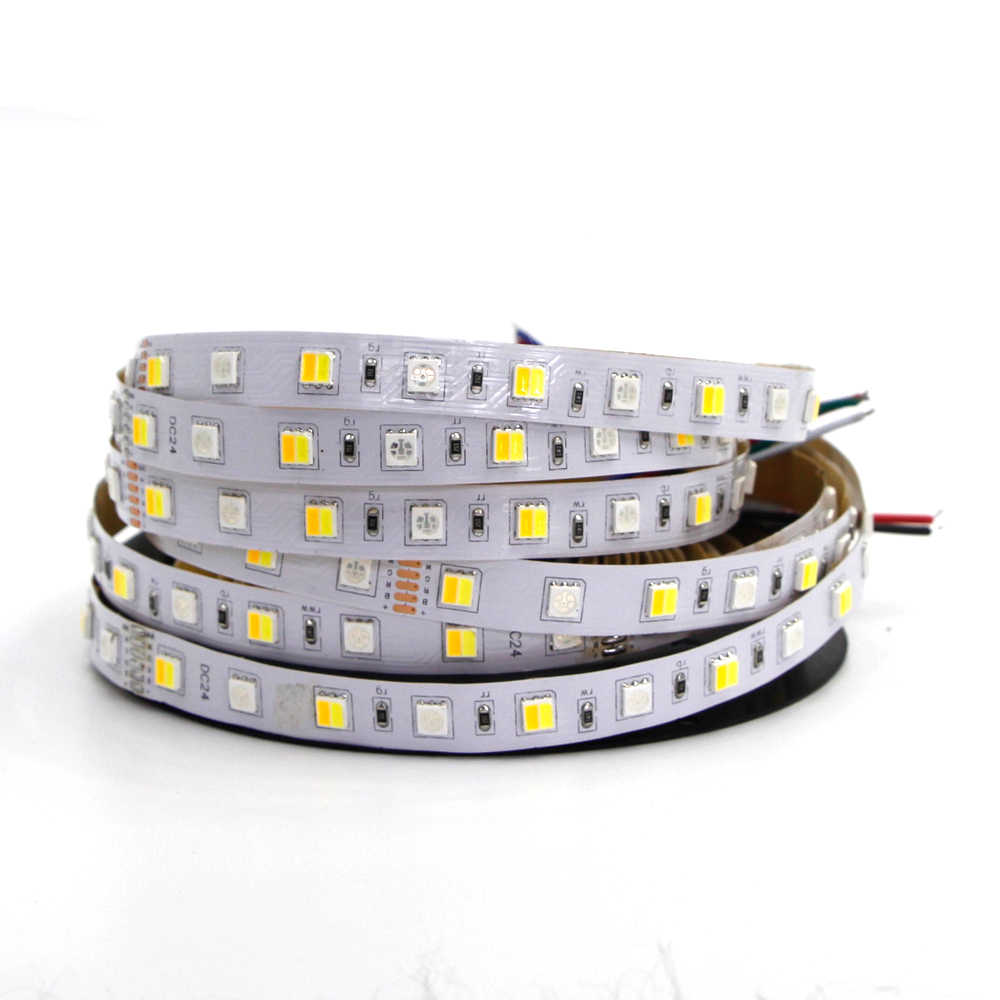 DC 12 V 24 V RGB CCT Lampu LED Strip SMD 5050 RGBW Rgbww Dual Color RGBW Penuh Warna 12 MM Fleksibel LED Garis Tali Pita Lampu 5 M