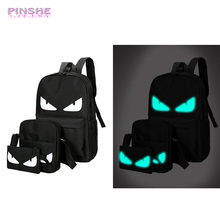 Womens Man Luminous Black Backpacks Canvas School Book Bags Computer Backpack Women Student Bag Large Capacity Mochila PINSHE