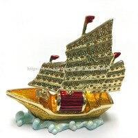 Enamel Metal Ship Figurine Display Ship Figurine Trinket Jewelry Box Cute Boat Gift Earring Holder Tiny Treasure box